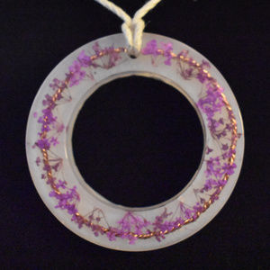 Large round pendent with purple babies breath